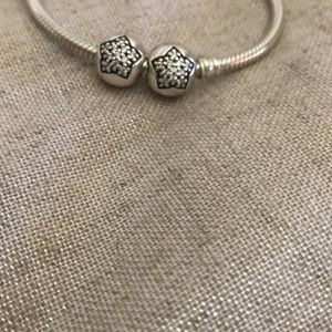 PANDORA set of 2 Sterling Silver Star Clips